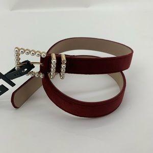 INC Burgundy Womens Pearl Belt XL